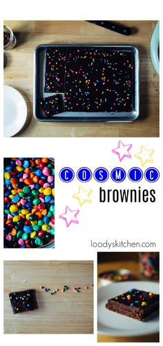 homemade cosmic brownies with rainbow chip sprinkles!