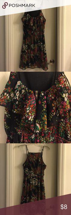 Floral sundress Super cute black floral dress. Zipper and ruffle detail in front, elastic waist. New Glory Dresses Mini