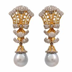 Buccellati  Pearl Diamond Gold Drop Earrings | From a unique collection of vintage clip-on earrings at https://www.1stdibs.com/jewelry/earrings/clip-on-earrings/