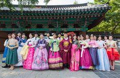 Group photo of hanboks in Jeonju