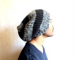 Slouch Mens Beanie Hat Men Clothes unisex Grey by MissTopKnot, $35.00