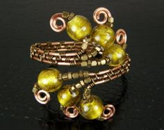 Copper & Bronze Wire Weave Bracelet with Foil Lined Gold Glass Beads
