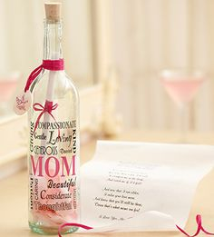 This unique gift allows you to express your feelings straight form the heart!  Message in a bottle is a great surprise for Mom!