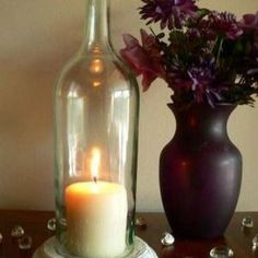 CLEAR Wine Bottle Candle Holder Hurricane Lamp Centerpiece