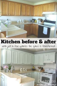 Our Oak Kitchen Makeover | Kitchens | Pinterest | Subway tile ... Ideas Small Kitchen Makeovers Before And After Html on kitchen rust-oleum cabinet transformations before and after, kitchen makeovers for small kitchens, kitchen cabinet makeover ideas, kitchen backsplash, cheap kitchen makeovers before and after, old kitchen cabinets makeover before and after, kitchen remodels before after, kitchen makeover ideas on a budget, kitchen paint color ideas with dark cabinets,