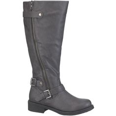 maurices Winnie Wide Calf Riding Boot In Gray ($59) ❤ liked on Polyvore featuring shoes, boots, grey, maurices boots, wide calf boots, faux boots, zip boots and wide calf riding boots