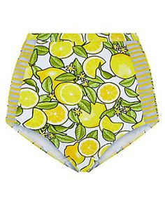 Yellow Lemon Print High Waisted Bikini Bottoms    New Look