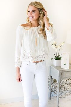 Sweet Pea Lace Trim Top