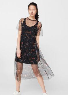 Vestido tul floral   MNG