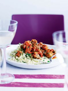 Try this aubergine and chestnut tagine recipe for a hearty and flavourful vegetarian supper.