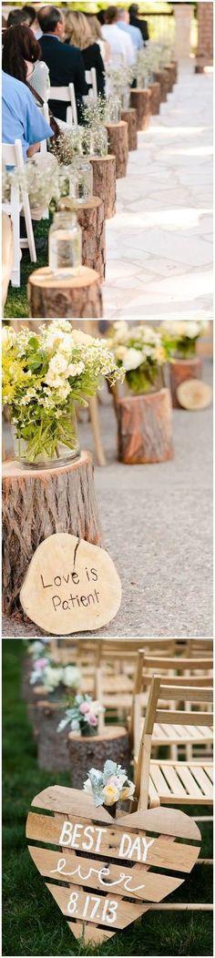 rustic tree stump wedding aisle decor ideas / http://www.deerpearlflowers.com/rustic-woodsy-wedding-trend-tree-stump/ #rustic #rusticwedding #countrywedding #weddingideas #wedding #dpf #deerpearlflowers #weddingdecoration
