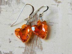 Swarovski Crystal Heart Earrings Mango Heart by MsBsDesigns