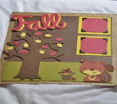 What a perfect time to prepare a Fall themed scrapbook page - before we know it the leaves will be turning beautiful fall shades and once I snap some photos of my son, I can simply plug the photos in the designated spots I created for them!