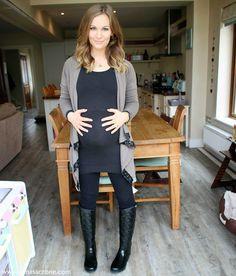Love Love Love!!! **maternity fashion** Leggings, dress, boots, cardigan