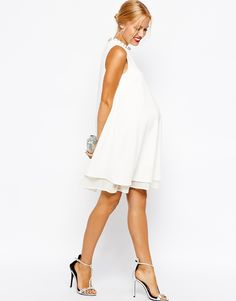 ASOS Maternity Textured Swing Dress with Pearl Neck Trim (for maternity photos?)