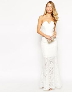 84c0a2c3b34 Jarlo Annabelle Fishtail Maxi Dress In All Over Lace White UK 12 EU 40 US 8
