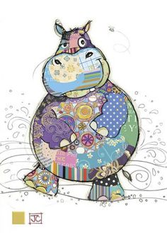 Gorgeous card with Harry Hippo in patckwork design and gold foil detail from Bug art cards. Applique Patterns, Applique Quilts, Quilt Patterns, Pintura Graffiti, Art Projects, Sewing Projects, Bug Art, Animal Quilts, Happy Paintings