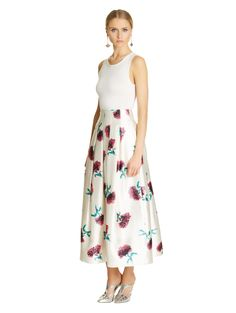Oscar de la Renta - Carnation-Printed Mikado Tea-Length Skirt