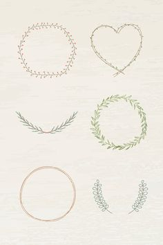 Leafy frame set on beige background illustration | free image by rawpixel.com / marinemynt Black Wreath, Green Wreath, Floral Wreath, Simple Backgrounds, Green Backgrounds, Free Doodles, Background Powerpoint, Free Hand Drawing