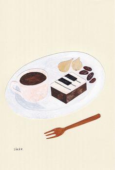 洋服を着た和菓子「ジャズ羊羹」は、お茶ではなく濃いめのコーヒーや紅茶とぜひお召し上がりください。イラストは京都在住の人気イラストレーター西淑さんにより描き下ろしポストカード。