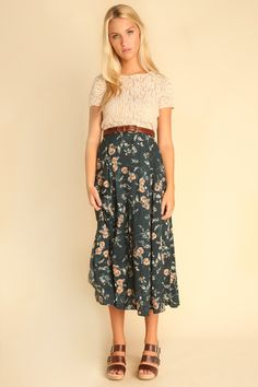 Elise Green Floral Maxi Skirt bah. I love skirts too much