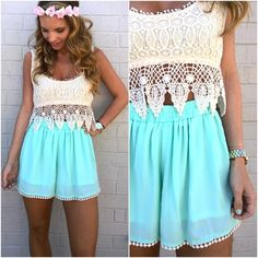 Blue shorts | Lace top | Lace Crop Top | Summer Outfit | Flower Crown | Cute Shorts | Love the outfit
