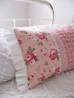 Farmhouse Fresh PILLOW -  VINTAGE Pink chenille and PINK Roses - Ready for Spring on Etsy, Sold