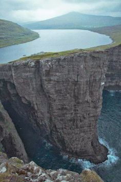 Lake Sorvagsvatn in the Faroe Islands, Denmark. The 3km lake towers above the ocean, at just 30m - and has a small waterfall via the cliff.
