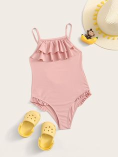 Girls Tiered Layer Frill Trim One Piece Swimwear Baby Swimwear, Summer Swimwear, Athletic Swimwear, Bandeau Swim Tops, Girls Bathing Suits, Cute Swimsuits, One Piece Swimwear, Baby Dress, Boy Outfits