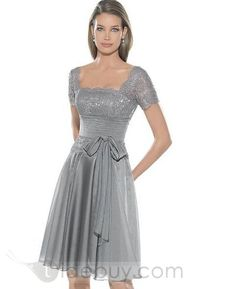 Classic Princess Square Neckline Capped Sleeves Knee-length Mother of the Bride Dresses....what do you think of this Mother of the Bride dress?