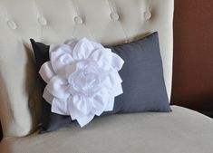 White Dahlia on Charcoal Gray Lumbar Pillow Decorative by bedbuggs, $33.00