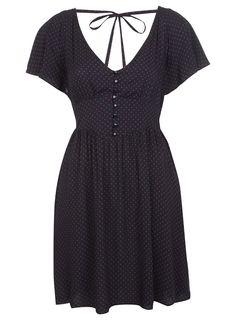 @Melissa Henson Selfridge Romantic Folk Navy and Red Pin Spot Dress $77