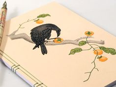 Art Journal. Crow Eating a Persimmon. Art by FabulousCatPapers