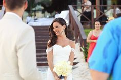 Genuine happiness and joy on the face of this beautiful bride at her destination wedding in the Riviera Maya at @Now Resorts & Spas . Mexico wedding photographers Del Sol Photography