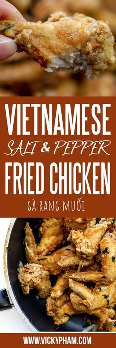 Vietnamese Salt & Pepper Fried Chicken (Ga Rang Muoi) — Vietnamese Home Cooking Recipes - Yummy - Asian Inspired Dishes - Asian Recipes Carne Asada, Spicy Fried Chicken, Fried Chicken Wings, Chinese Fried Chicken, Chinese Chicken Wings, Roasted Chicken, Low Carb Brasil, Asian Recipes, Healthy Recipes