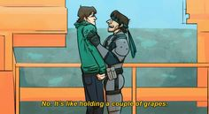 Otacon is basically weightless to Snake
