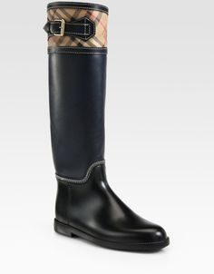 Burberry Rain Boots | Burberry Leather and Vintage Check Rain Boots in Blue (navy) - Lyst