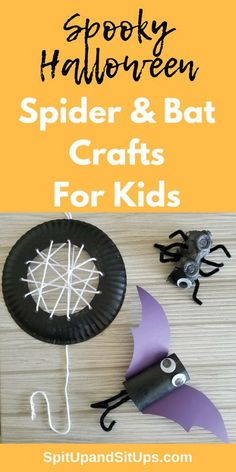 This adorable homemade Halloween spider and bat craft for kids can be made using household products like a toilet paper roll, paper plate and egg carton! Diy Halloween, Halloween Crafts For Kids, Halloween Spider, Halloween Activities, Fun Activities For Kids, Holiday Crafts, Toddler Halloween, Kids Fun, Preschool Ideas