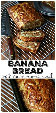 Put those overripe bananas to good use and make this flavorful banana bread with mascarpone cheese swirl. Your house will smell amazing, and your tummy will thank you. Well unless you don't like bananas and then well. #bananabread #bananas #breakfast #vegetarian