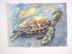 My turtle from Watercolor group this week..  love learning!