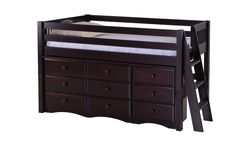 Camaflexi Low Loft Storage Bed - Mission Headboard - Lateral Ladder - Cappuccino Finish - C412LS2_CP