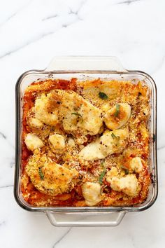 Vegan Cauliflower Parmesan Pasta Bake. Pasta, marinara sauce, Crispy Cauliflower slices coated in breadcrumbs and spices, and vegan mozzarella. Soy-free Recipe. Can be gluten-free | http://VeganRicha.com