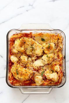 Vegan Cauliflower Parmesan Pasta Bake. Pasta, marinara sauce, Crispy Cauliflower slices coated in breadcrumbs and spices, and vegan mozzarella. Soy-free Recipe. Can be gluten-free   http://VeganRicha.com