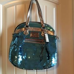 Coach handbag Super sparkly blue sequined Coach Poppy handbag. Perfect for a night out on the town!  Optional shoulder strap included. Coach Bags Shoulder Bags