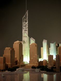 """Model of the Freedom Tower pre """"design by committee"""" Daniel Libeskind"""