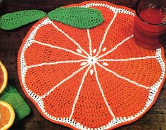 Delicious Crochet Orange Slice Placemat PATTERN by PearlShoreCat, $1.95
