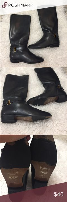 Etienne Aigner Black Leather Shelby Long Boots Real leather Etienne Aigner Shoes
