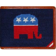 Republican Needlepoint Wallet in Blue by Smathers & Branson