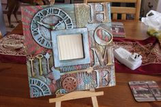 Arty Crafty Altered Boxes, Altered Art, Mixed Media Canvas, Mixed Media Art, Painting Frames, Painting On Wood, Decoupage, Ikea Mirror, Plate Art