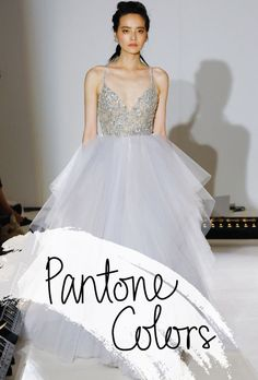 """Brides.com: . """"Arlo"""" moonstone tulle beaded ball gown with a rhinestone-encrusted bodice featuring alabaster and hologram accents, Hayley Paige"""